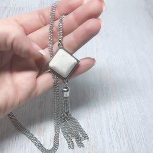Genuine 20mm White Howlite Tassel Necklace